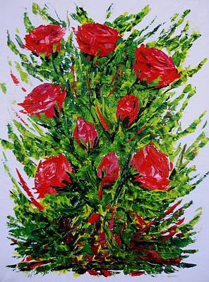 Flowers Painting - Painting With Knife Of Red Roses  by Mario Perez