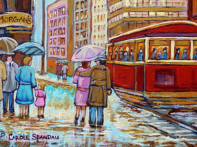 Montreal Storefronts Painting - Paintings Of Fifties Montreal-downtown Streetcar-vintage Montreal Scene by Carole Spandau