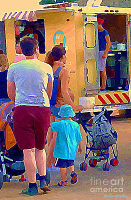 Montreal Painting - Paintings Of Food Trucks Summer Family Fun Roadside Eateries Art Dad Mom And Little Boy Cspandau by Carole Spandau