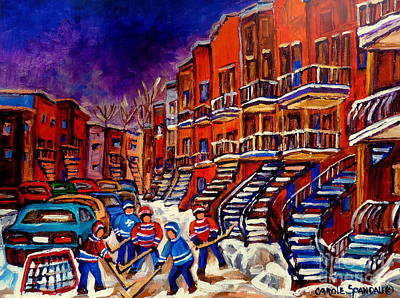 Street Hockey Digital Art - Paintings Of Montreal Hockey On Du Bullion Street by Carole Spandau