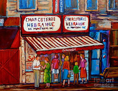 Painting - Paintings Of Montreal Streets Schwartzs Hebrew Deli by Carole Spandau