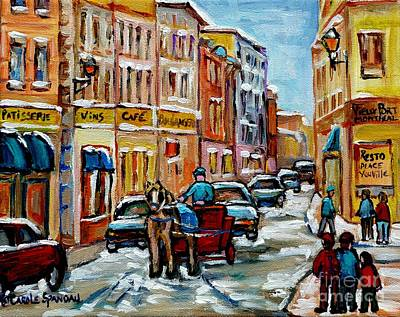 Painting - Paintings Of Old Port Quebec Vieux Montreal Memories Rue Notre Dame Snowscenes Art Carole Spandau by Carole Spandau