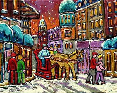 Rue Notre Dame Painting - Paintings Of Old Quebec Magical Vieux Port Montreal City Scenes Caleche In Winter Carole Spandau by Carole Spandau
