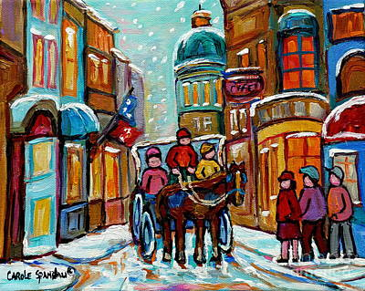 Rue Notre Dame Painting - Paintings Of Snowscenes Old Montreal Winter Scene Art Horse And Buggy Old City Quebec Carole Spandau by Carole Spandau