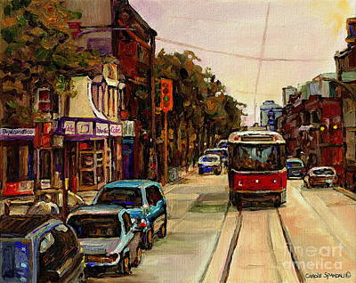 Painting - Paintings Of Toronto Italian Resto Take The Tram To College And Clinton Carole  by Carole Spandau