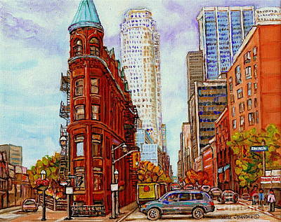 Montreal Storefronts Painting - Paintings Of Toronto The Flat Iron Building Front Street And Church Toronto Skyline Art C Spandau by Carole Spandau