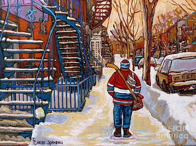 Kids Playing Hockey Drawing - Paintings Of Verdun Montreal Staircases In Winter Walking Home After The Game By Carole Spandau by Carole Spandau