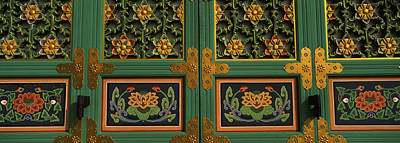 Mural Photograph - Paintings On The Door Of A Buddhist by Panoramic Images