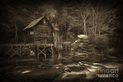 Photograph - Paintography Sepia Of Grist Mill At Babcock State Park by Dan Friend