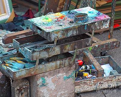 Paints And Brushes Of An Outdoor Painter Art Print