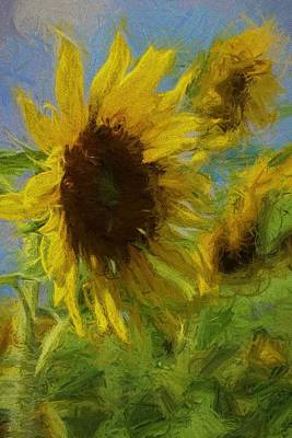 Yellow Sunflowers Photograph - Painty Sunflower by Cathy Lindsey