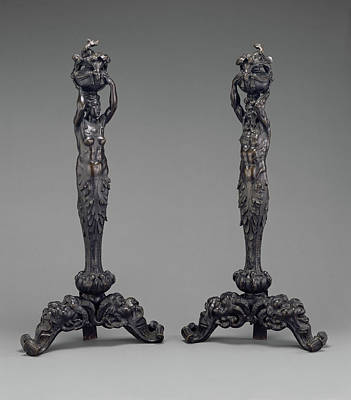 Andirons Drawing - Pair Of Andirons In The Form Of A Female And A Male Herm by Litz Collection
