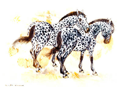 Pair Of Appaloosa Horses With Leopard Complex Art Print by Kurt Tessmann