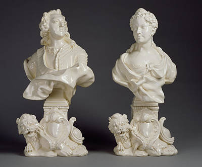 Pair Of Busts Louis Xv And Marie Leczinska Rue De Charenton Print by Litz Collection