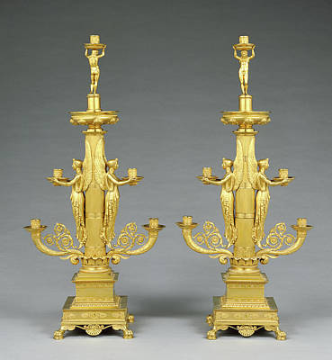 Pair Of Candelabra Designed By Filippo Pelagio Palagi Art Print by Litz Collection