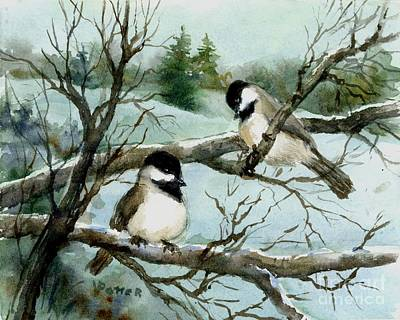 Painting - Pair Of Chickadees by Virginia Potter