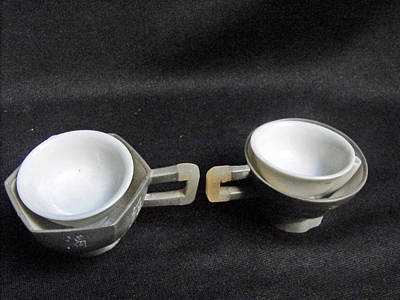 Ceramic Mixed Media - Pair Of Chinese Pewter Tea Cups With Side Inscription by Anonymous