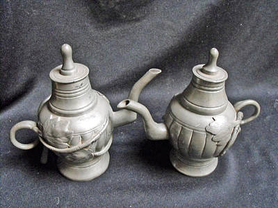 Pair Of Decorated Pewter Teapots Art Print by Anonymous