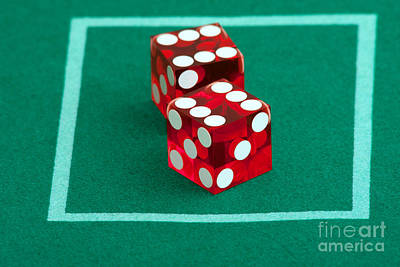 Photograph - Pair Of Dice On Casino Felt by Gunter Nezhoda