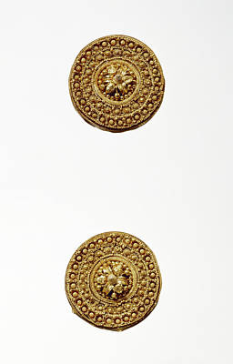 Pair Of Disk Earrings Unknown Etruria Late 6th Century B Art Print by Litz Collection