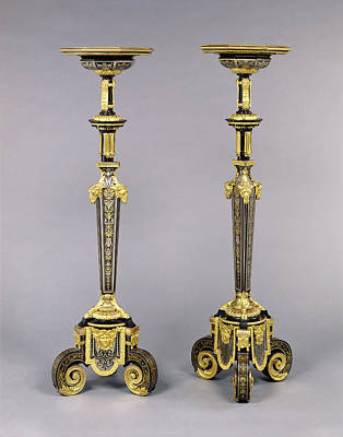 Ebony Painting - Pair Of Gueridons Attributed To André-charles Boulle by Litz Collection
