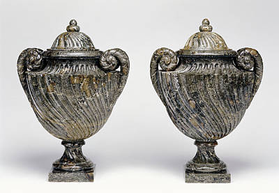 Granite Drawing - Pair Of Lidded Vases Unknown About 1700 Green Granite by Litz Collection