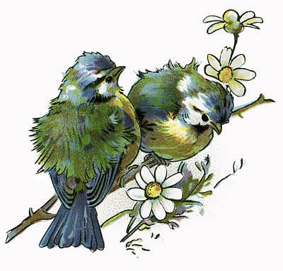 Victorian Digital Art - Pair Of Love Birds  1898 by Daniel Hagerman