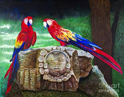 Pair Of Parrots By Barbara Heinrichs Art Print by Sheldon Kralstein