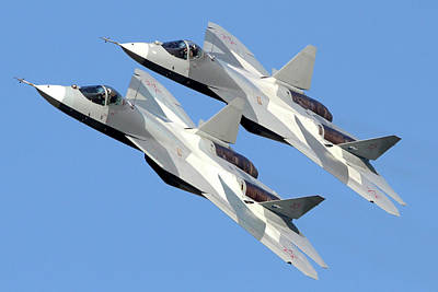 T-50 Photograph - Pair Of T-50 Pak-fa Fifth Generation by Artyom Anikeev