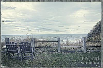 Photograph - Pair Of Wooden Chairs Overlooking Ocean On A Cold Grey Afternoon by Beverly Claire Kaiya