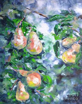 Pear Tree Painting - Paired Pears by Lori Pittenger