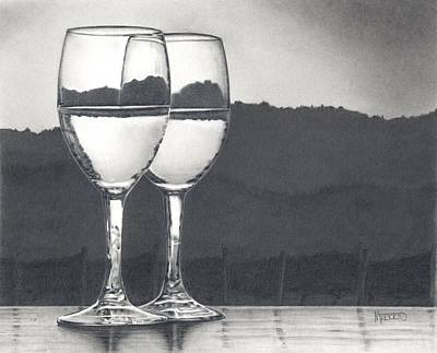 Pinot Noir Drawing - Pairing by Mark Treick