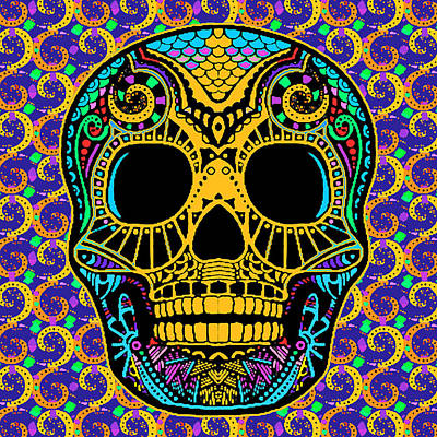 Painting - Paisley Skull by Tony Rubino