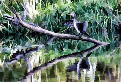 Western Art - Paitiry drying cormorant- cormorant sitting on dead branch in water drying its wings by Leif Sohlman