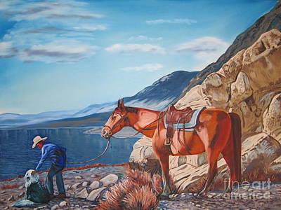 Paiute Boy At Walker Lake Art Print by Joseph Juvenal