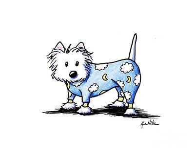 Westie Terrier Drawing - Pajama Westie by Kim Niles