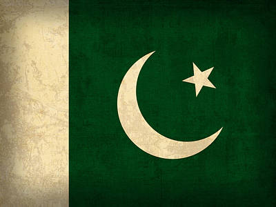 Pakistan Flag Vintage Distressed Finish Art Print