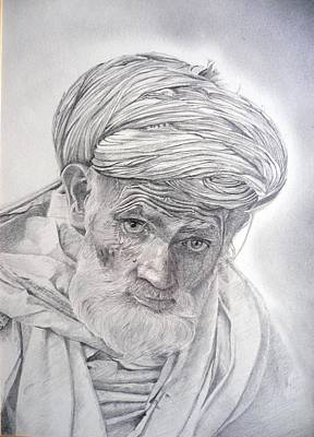 Drawing - Pakistan Headman by Derrick Parsons