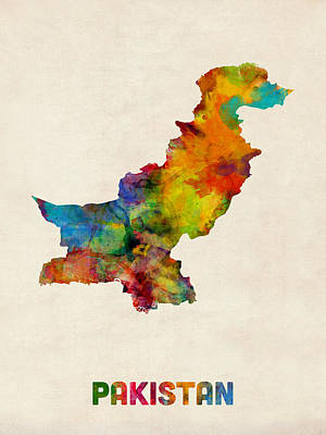 Pakistan Digital Art - Pakistan Watercolor Map by Michael Tompsett