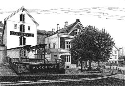 Farsund Drawing - Pakkhuset by Janet King