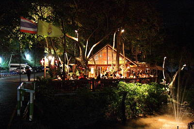 Asian Photograph - Palaad Tawanron Restaurant - Chiang Mai Thailand - 01135 by DC Photographer