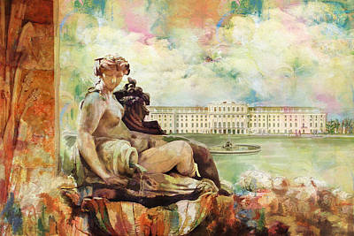 Palace And Gardens Of Schonbrunn Art Print by Catf