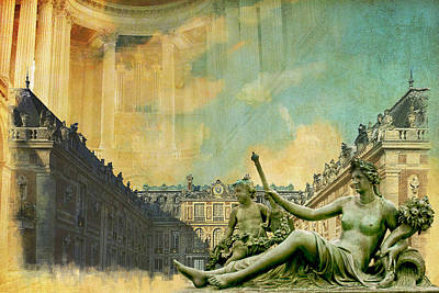 Surrounding Painting - Palace And Park Of Versailles Unesco World Heritage Site by Catf