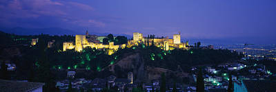 Alhambra Photograph - Palace Lit Up At Dusk, Alhambra by Panoramic Images