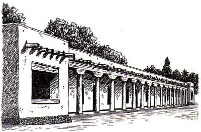 Hip Drawing - Palace Of The Governors  by Del Gaizo