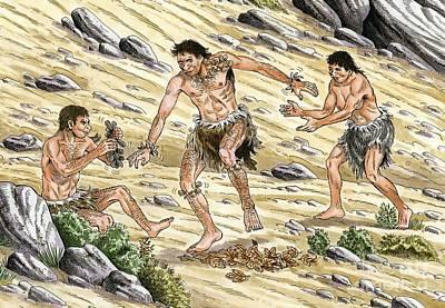 Palaeolithic Dancing, Artwork Art Print by Luis Montanya/marta Montanya/sciencephotolibrary