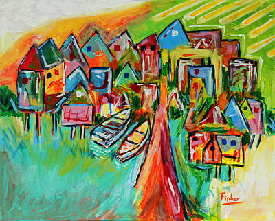 Palafites In Greater Island Of Chiloe Art Print by Rafael Fischer