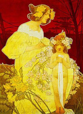 Little Girls Nude Digital Art - Palais De La Femme Exposition  by Henri Pivat Livemont