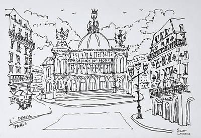 Pen And Ink Drawing Photograph - Palais Garnier Opera House, Paris by Richard Lawrence