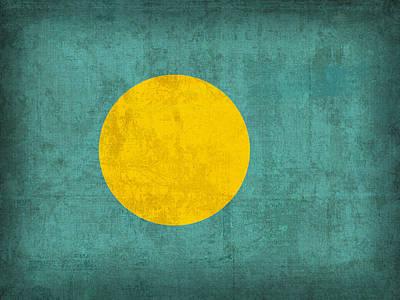 Flag Mixed Media - Palau Flag Vintage Distressed Finish by Design Turnpike